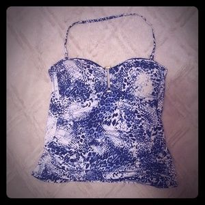 APT 9 Blue & White Tankini Top